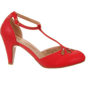NEW Vintage Pinup T-Strap Heels Pumps Red Shoes